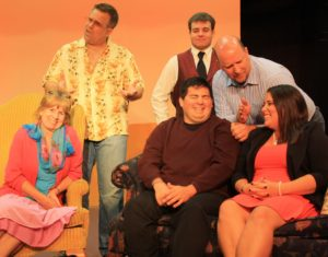 The Cast of Beyond Therapy Back row (L-R) Bob Petrik (Stuart), Bob Harris (Andrew), Joe Forstromm (Bob) Front row (L-R) Linda Walsh (Charlotte), Kevin Christian (Bruce), Lisa Litchko-Stunder (Prudence)